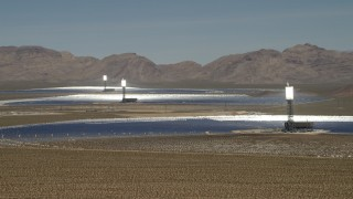 FG0001_000177 - 4K stock footage aerial video of a view of the three arrays at the Ivanpah Solar Electric Generating System in California