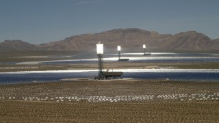 FG0001_000181 - 4K stock footage aerial video flyby the Ivanpah Solar Electric Generating System in California