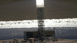 FG0001_000184 - 4K stock footage aerial video orbit a power tower at the Ivanpah Solar Electric Generating System in California