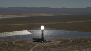 FG0001_000189 - 4K stock footage aerial video of circling one of the arrays at the Ivanpah Solar Electric Generating System in California