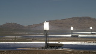 FG0001_000196 - 4K stock footage aerial video of a trio of arrays at the Ivanpah Solar Electric Generating System in California