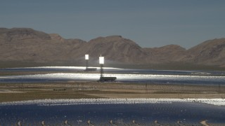 FG0001_000197 - 4K stock footage aerial video of the desert arrays of the Ivanpah Solar Electric Generating System in California