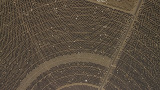 FG0001_000216 - 4K stock footage aerial video of a bird's eye of one of the mirror arrays at the Ivanpah Solar Electric Generating System in California