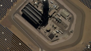 FG0001_000220 - 4K stock footage aerial video of a bird's eye view of mirror array and power tower at the Ivanpah Solar Electric Generating System in California