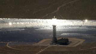 FG0001_000224 - 4K stock footage aerial video of a mirror array and power tower at the Ivanpah Solar Electric Generating System in California