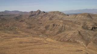 FG0001_000259 - 4K stock footage aerial video of steep mountain ridges in the Nevada Desert