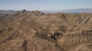 FG0001_000260 - 4K stock footage aerial video of steep-sloped mountain ridges in the Nevada Desert