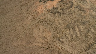 FG0001_000271 - 4K stock footage aerial video of a bird's eye view of flat plain the Nevada Desert