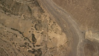 FG0001_000272 - 4K stock footage aerial video of an overhead view of flat plain the Nevada Desert