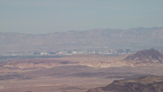 FG0001_000293 - 4K stock footage aerial video tilt from sky to reveal the casino hotels of Las Vegas, Nevada