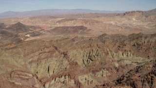 FG0001_000297 - 4K stock footage aerial video of rough mountains in a barren Nevada Desert landscape