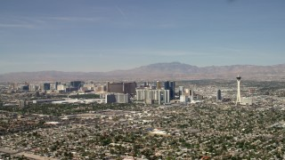 FG0001_000315 - 4K stock footage aerial video tilt to reveal hotels and casinos on the Las Vegas Strip, Nevada