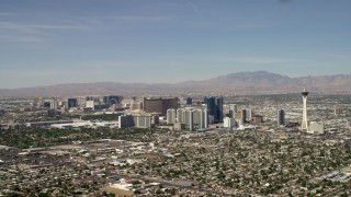 FG0001_000316 - 4K stock footage aerial video of hotels and casinos on the Las Vegas Strip seen from near Stratosphere, Nevada