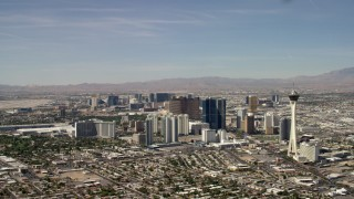 FG0001_000317 - 4K stock footage aerial video of Stratosphere and hotels and casinos on the Las Vegas Strip in Nevada