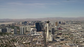 FG0001_000318 - 4K stock footage aerial video flyby Stratosphere with a view of hotels and casinos on the Las Vegas Strip in Nevada