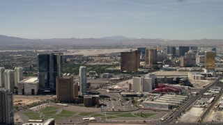 FG0001_000320 - 4K stock footage aerial video flyby Fontainebleau, Circus Circus, and Encore casino hotels on the Las Vegas Strip in Nevada