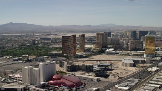FG0001_000321 - 4K stock footage aerial video of Encore, Wynn, Palazzo and Trump casino hotels on the Las Vegas Strip in Nevada