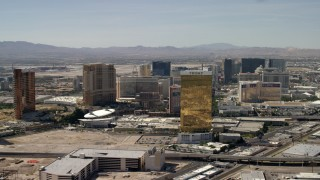 FG0001_000322 - 4K stock footage aerial video of passing the famous casino hotels on the Las Vegas Strip in Nevada