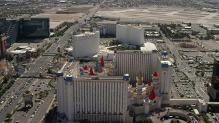 FG0001_000328 - 4K stock footage aerial video of the Tropicana and Excalibur on Tropicana Avenue, and reveal Luxor on the Las Vegas Strip, Nevada