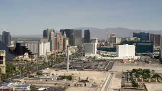 FG0001_000331 - 4K stock footage aerial video of the resort casinos on Las Vegas Boulevard, the Las Vegas Strip, Nevada