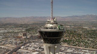 FG0001_000341 - 4K stock footage aerial video orbit the top of Stratosphere Las Vegas, Nevada