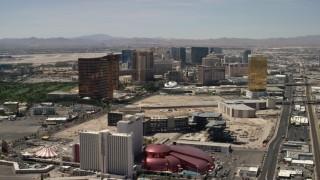 FG0001_000344 - 4K stock footage aerial video of Las Vegas Strip casino resorts in Las Vegas, Nevada