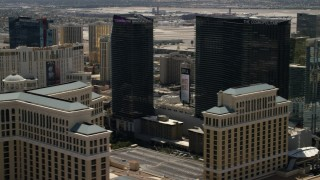 FG0001_000348 - 4K stock footage aerial video of flying by the casino resorts of the Las Vegas Strip, Nevada