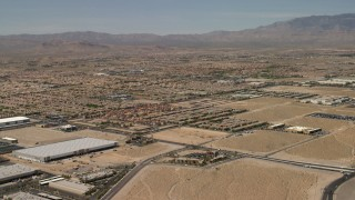 FG0001_000355 - 4K stock footage aerial video approach neighborhoods with tract homes in Las Vegas, Nevada