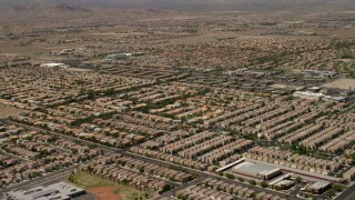 FG0001_000357 - 4K stock footage aerial video fly over neighborhoods with tract homes and approach apartment buildings in Las Vegas, Nevada