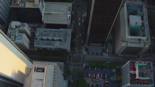HDA06_34 - 1080 stock footage aerial video bird's eye view of S Hope Street through Downtown Los Angeles, California at sunset