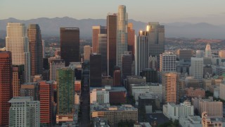 HDA06_47 - 1080 stock footage aerial video Downtown Los Angeles skyscrapers and high-rises at sunset in California