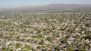 HDA07_01 - 1080 stock footage aerial video fly over residential neighborhoods, San Fernando Valley, California