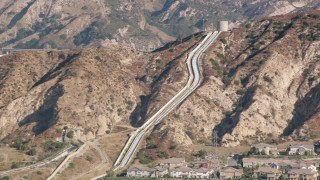 HDA07_08 - 1080 stock footage aerial video of the Los Angeles Aqueduct in San Fernando Valley, California