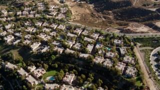 HDA07_16 - 1080 stock footage aerial video of tract homes in Newhall, California