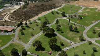 HDA07_27 - 1080 stock footage aerial video of Eternal Valley Memorial Park, Newhall, California