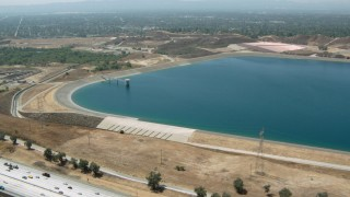 HDA07_38 - 1080 stock footage aerial video of a view of the LA Reservoir in Granada Hills, California