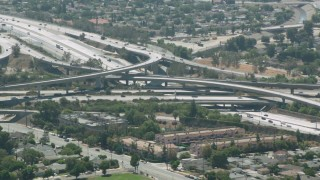 HDA07_41 - 1080 stock footage aerial video of the I-5 and I-118 interchange, Pacoima, California