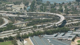 HDA07_42 - 1080 stock footage aerial video flyby I-5 and 118 interchange in Pacoima, California