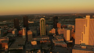 HDA12_001 - 1080 stock footage aerial video of skyscrapers at sunset in Downtown Fort Worth, Texas