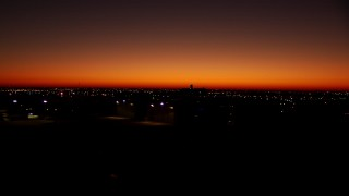 HDA12_017 - 1080 stock footage aerial video of taking off from Fort Worth Meacham International Airport at sunrise, Texas