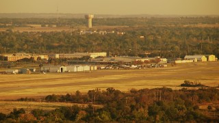 HDA12_070 - 1080 stock footage aerial video of Halliburton Field at sunrise in Oklahoma