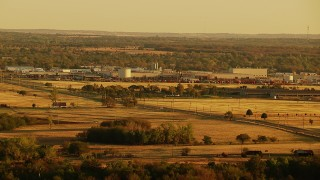 HDA12_071 - 1080 stock footage aerial video of factory at sunrise in Duncan, Oklahoma