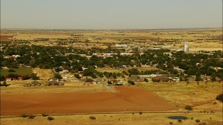HDA12_083 - 1080 stock footage aerial video of approaching the outskirts of the town of Walters, Oklahoma