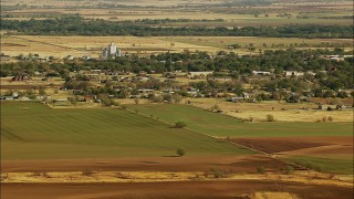 HDA12_094 - 1080 stock footage aerial video of the town of Walters and farmland in Oklahoma