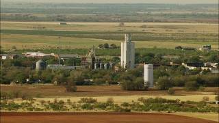 HDA12_101 - 1080 stock footage aerial video of silos and farmland, Temple, Oklahoma