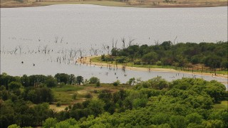 HDA12_110 - 1080 stock footage aerial video of the shoreline of a lake in Oklahoma