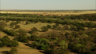 HDA12_113 - 1080 stock footage aerial video of farm fields and trees in Oklahoma