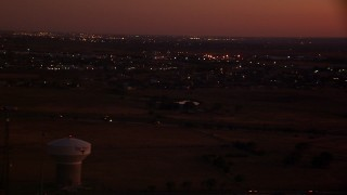 HDA12_183 - 1080 stock footage aerial video of flying by Highway 287/81, Fort Worth, Texas, night
