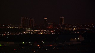 HDA12_188 - 1080 stock footage aerial video of the Downtown Fort Worth skyline at night, Texas