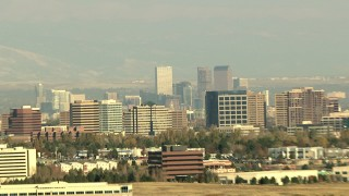 HDA13_272 - HD stock footage aerial video of the Denver skyline and office buildings seen from Centennial, Colorado